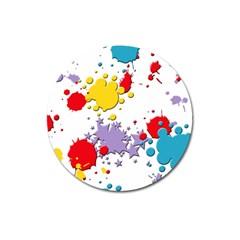 Paint Splash Rainbow Star Magnet 3  (round) by Mariart