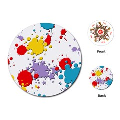 Paint Splash Rainbow Star Playing Cards (round)  by Mariart