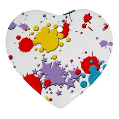 Paint Splash Rainbow Star Heart Ornament (two Sides) by Mariart
