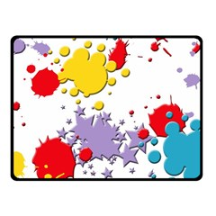 Paint Splash Rainbow Star Fleece Blanket (small) by Mariart