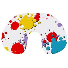 Paint Splash Rainbow Star Travel Neck Pillows by Mariart