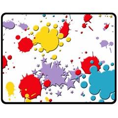 Paint Splash Rainbow Star Double Sided Fleece Blanket (medium)  by Mariart