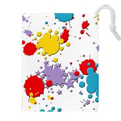 Paint Splash Rainbow Star Drawstring Pouches (xxl) by Mariart