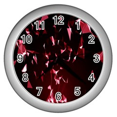 Lying Red Triangle Particles Dark Motion Wall Clocks (silver)  by Mariart