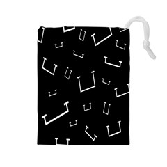 Pit White Black Sign Pattern Drawstring Pouches (large)  by Mariart