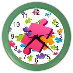 Passel Picture Green Pink Blue Sexy Game Color Wall Clocks by Mariart