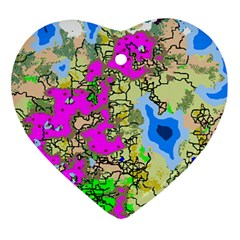 Painting Map Pink Green Blue Street Ornament (heart) by Mariart