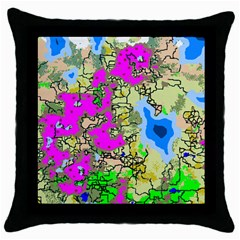 Painting Map Pink Green Blue Street Throw Pillow Case (black) by Mariart