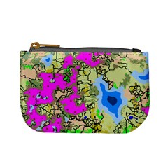 Painting Map Pink Green Blue Street Mini Coin Purses by Mariart