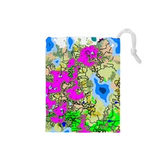Painting Map Pink Green Blue Street Drawstring Pouches (small)  by Mariart
