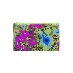 Painting Map Pink Green Blue Street Cosmetic Bag (xs) by Mariart