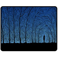 Forest Tree Night Blue Black Man Double Sided Fleece Blanket (medium)  by Mariart