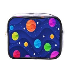 Planet Space Moon Galaxy Sky Blue Polka Mini Toiletries Bags