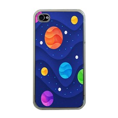 Planet Space Moon Galaxy Sky Blue Polka Apple Iphone 4 Case (clear) by Mariart