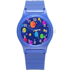 Planet Space Moon Galaxy Sky Blue Polka Round Plastic Sport Watch (s) by Mariart