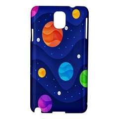 Planet Space Moon Galaxy Sky Blue Polka Samsung Galaxy Note 3 N9005 Hardshell Case by Mariart