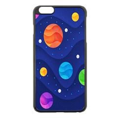 Planet Space Moon Galaxy Sky Blue Polka Apple Iphone 6 Plus/6s Plus Black Enamel Case by Mariart