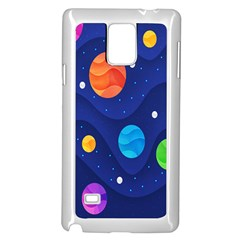 Planet Space Moon Galaxy Sky Blue Polka Samsung Galaxy Note 4 Case (white) by Mariart