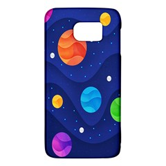 Planet Space Moon Galaxy Sky Blue Polka Galaxy S6 by Mariart