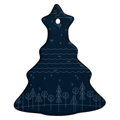 Rain Hill Tree Waves Sky Water Christmas Tree Ornament (two Sides) by Mariart