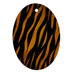 Skin3 Black Marble & Yellow Grunge (r) Oval Ornament (two Sides) by trendistuff