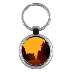 Road Trees Stop Light Richmond Ace Key Chains (round)  by Mariart