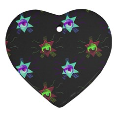Random Doodle Pattern Star Heart Ornament (two Sides) by Mariart