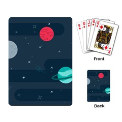 Space Pelanet Galaxy Comet Star Sky Blue Playing Card by Mariart