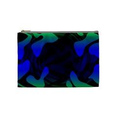 Spectrum Sputnik Space Blue Green Cosmetic Bag (medium)  by Mariart