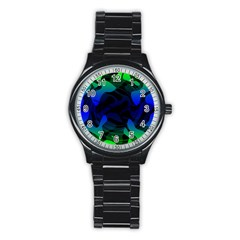 Spectrum Sputnik Space Blue Green Stainless Steel Round Watch by Mariart