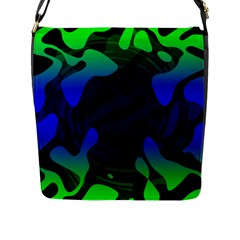 Spectrum Sputnik Space Blue Green Flap Messenger Bag (l)  by Mariart