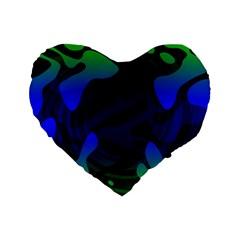 Spectrum Sputnik Space Blue Green Standard 16  Premium Flano Heart Shape Cushions by Mariart
