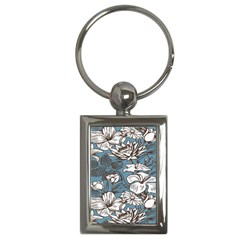 Star Flower Grey Blue Beauty Sexy Key Chains (rectangle)  by Mariart