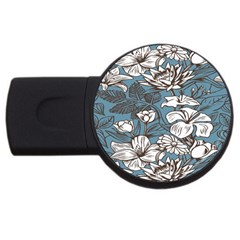 Star Flower Grey Blue Beauty Sexy Usb Flash Drive Round (2 Gb) by Mariart