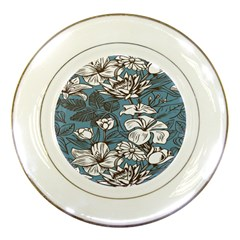 Star Flower Grey Blue Beauty Sexy Porcelain Plates by Mariart