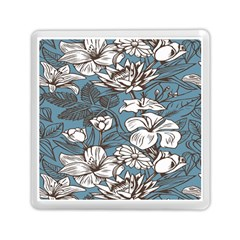 Star Flower Grey Blue Beauty Sexy Memory Card Reader (square)  by Mariart