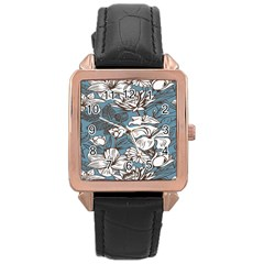 Star Flower Grey Blue Beauty Sexy Rose Gold Leather Watch  by Mariart