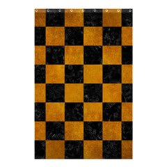 Square1 Black Marble & Yellow Grunge Shower Curtain 48  X 72  (small)  by trendistuff