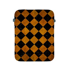 Square2 Black Marble & Yellow Grunge Apple Ipad 2/3/4 Protective Soft Cases by trendistuff