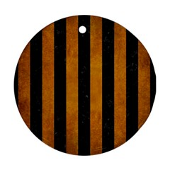 Stripes1 Black Marble & Yellow Grunge Round Ornament (two Sides) by trendistuff