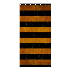 Stripes2 Black Marble & Yellow Grunge Shower Curtain 36  X 72  (stall)  by trendistuff