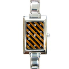 Stripes3 Black Marble & Yellow Grunge Rectangle Italian Charm Watch