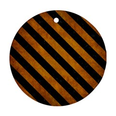 Stripes3 Black Marble & Yellow Grunge Ornament (round) by trendistuff