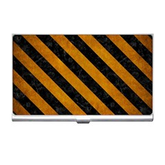 Stripes3 Black Marble & Yellow Grunge Business Card Holders by trendistuff