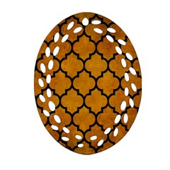 Tile1 Black Marble & Yellow Grunge Ornament (oval Filigree) by trendistuff