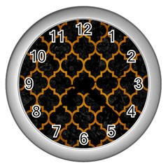 Tile1 Black Marble & Yellow Grunge (r) Wall Clocks (silver)  by trendistuff