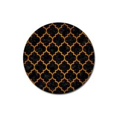 Tile1 Black Marble & Yellow Grunge (r) Magnet 3  (round) by trendistuff