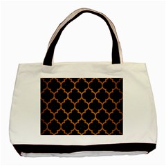 Tile1 Black Marble & Yellow Grunge (r) Basic Tote Bag by trendistuff