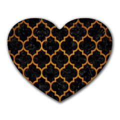 Tile1 Black Marble & Yellow Grunge (r) Heart Mousepads by trendistuff