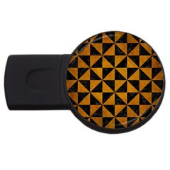 Triangle1 Black Marble & Yellow Grunge Usb Flash Drive Round (4 Gb) by trendistuff